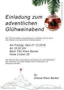 Einladung zum Glühwein Dezember 2018